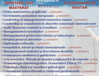 Oferta educațională 2020 a Universității Hyperion